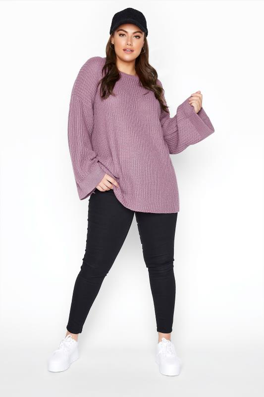 Mauve Purple Wide Sleeve Chunky Knitted Jumper