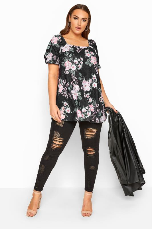 LIMITED COLLECTION Black Floral Broderie Anglaise Top