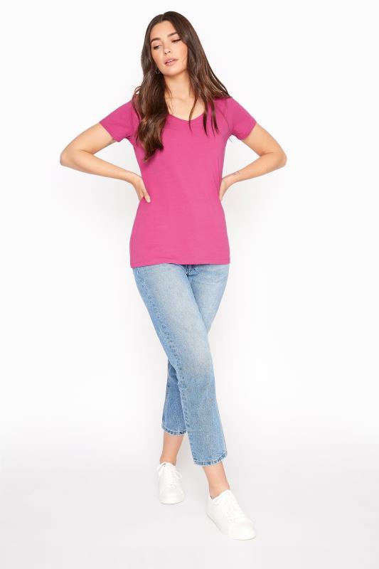 Pink Cotton Stretch V-Neck T-Shirt