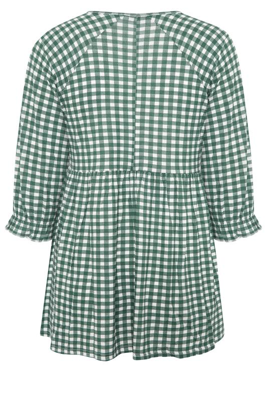 LIMITED COLLECTION Green & White Gingham Smock Top_BK.jpg