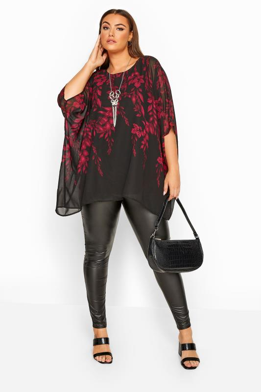 YOURS LONDON Black & Wine Red Chiffon Floral Cape Top