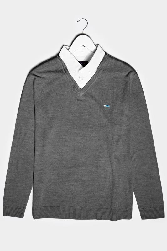Men's  BadRhino Charcoal Grey & White Essential Mock Shirt Jumper