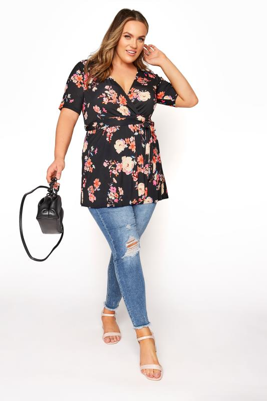 YOURS LONDON Black Neon Floral Belted Wrap Top_B.jpg