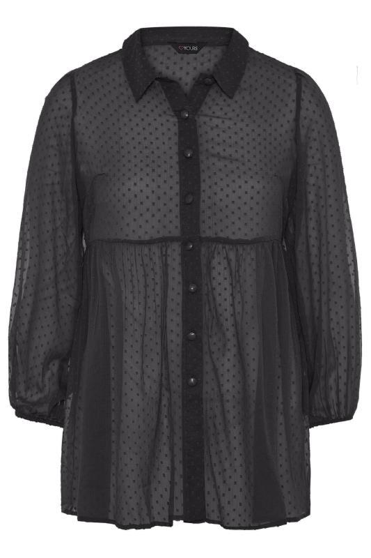 Black Peplum Dobby Chiffon Shirt