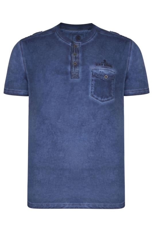 KAM Blue Acid Wash Grandad Style T-Shirt