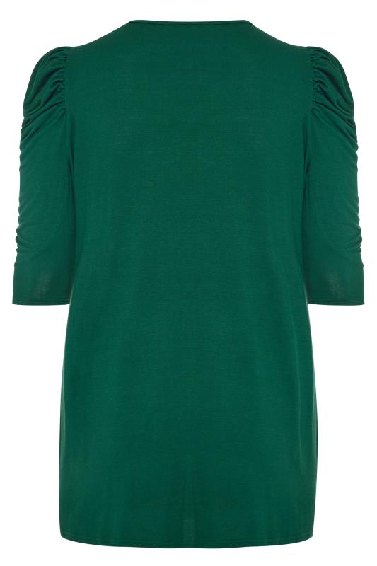 LIMITED COLLECTION Bottle Green Puff Shoulder Jersey Top