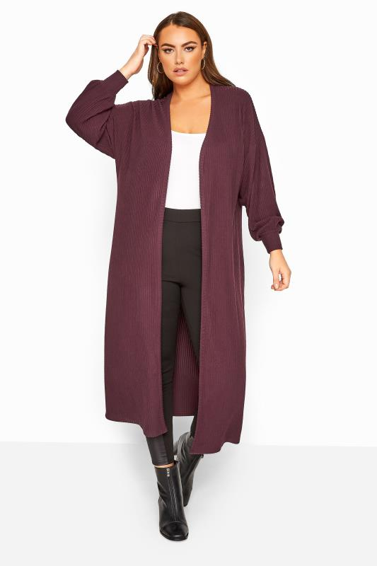 Plus Size Cardigans LIMITED COLLECTION Plum Balloon Sleeve Brushed Midi Cardigan