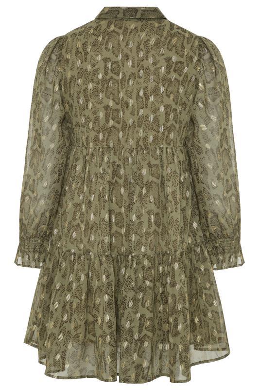 LIMITED COLLECTION Khaki Foil Snake Tiered Shirt Dress_BK.jpg