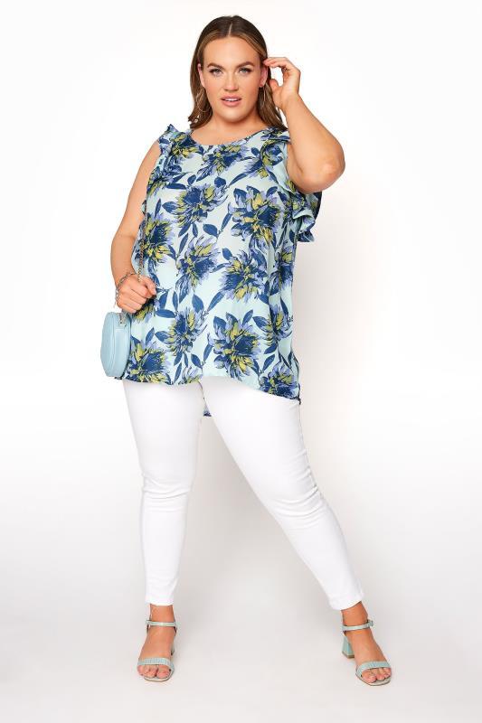 Blue Floral Frill Sleeve Top_B.jpg