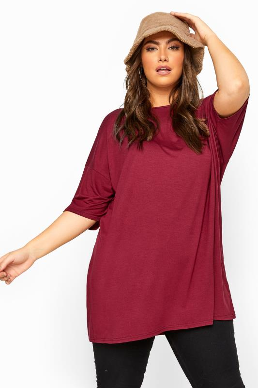 Plus Size  Wine Red Jersey Oversized T-Shirt