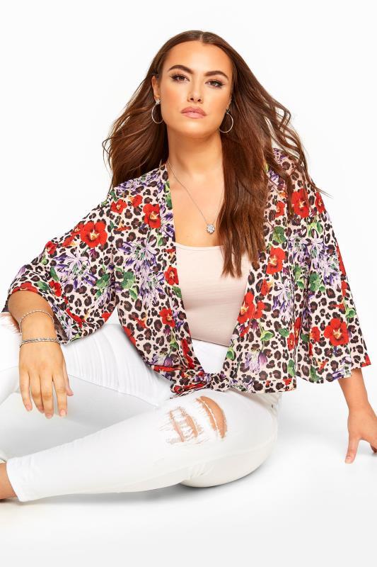 Plus Size Kimonos Pink Animal Print Floral Wrap Kimono