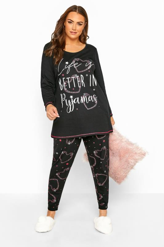 Plus Size  Black Heart Slogan Pyjama Set