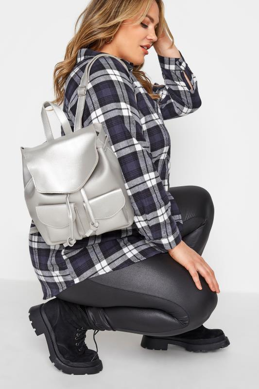 Silver Double Pocket Backpack