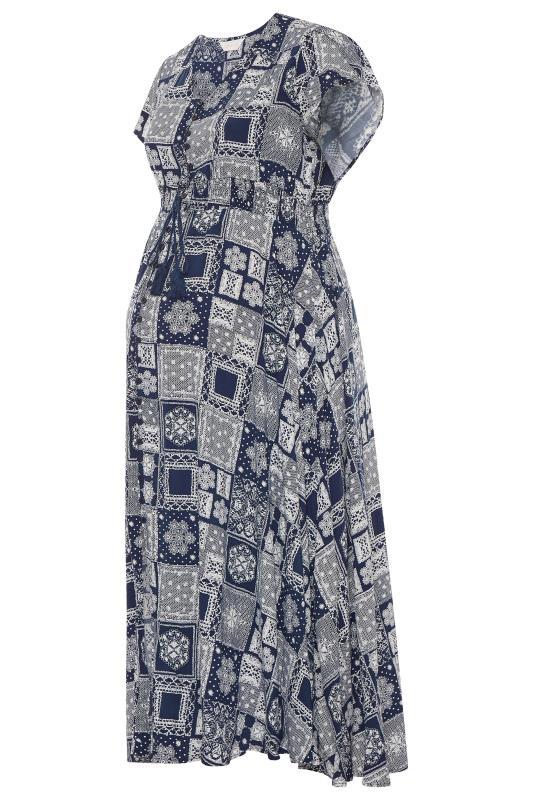 BUMP IT UP MATERNITY Dark Blue Tile Print Maxi Dress_F.jpg