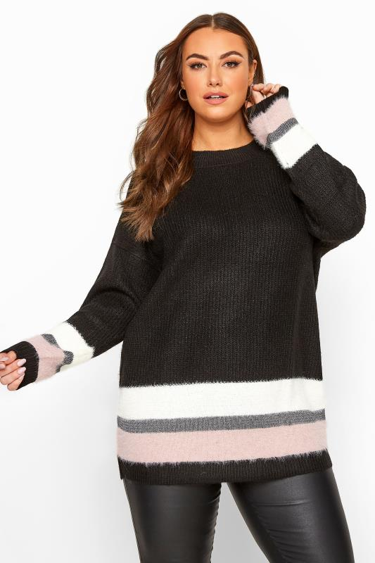Jumpers Tallas Grandes Black Glitter Colour Block Hem Knitted Jumper