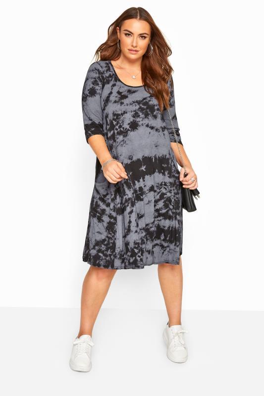Black Tie Dye Drape Pocket Dress