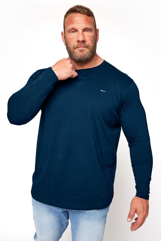 Men's Casual / Every Day BadRhino Navy Plain Long Sleeve T-Shirt