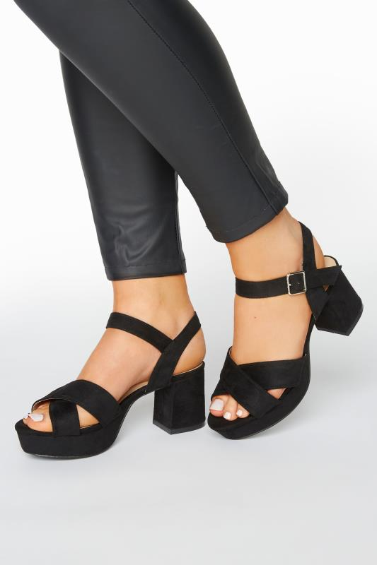 Großen Größen  LIMITED COLLECTION Black Platform Sandal In Extra Wide Fit
