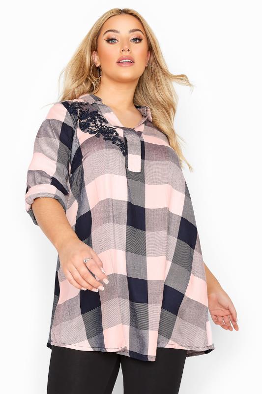 Pink & Navy Embellished Check Shirt