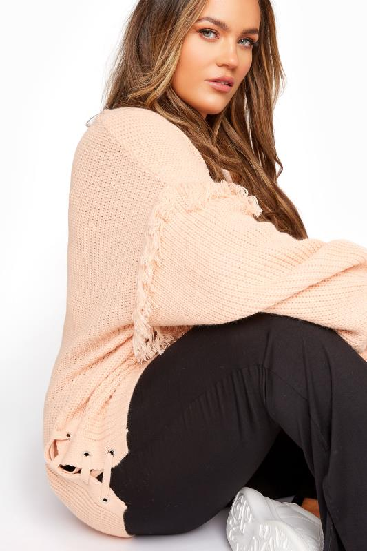Pink Tassel Sleeve Chunky Knitted Jumper