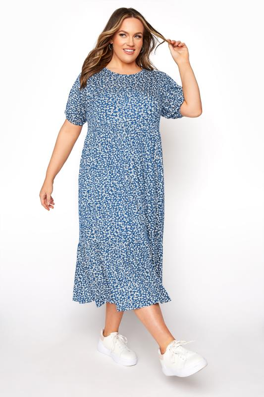 Blue Ditsy Frill Hem Puff Sleeve Midi Smock Dress_A.jpg