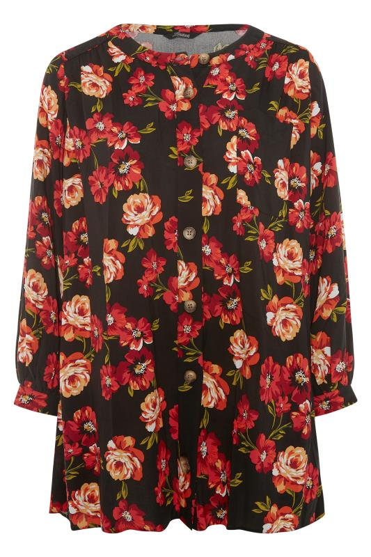 THE LIMITED EDIT Black Floral Smock Tiered Shirt_F.jpg