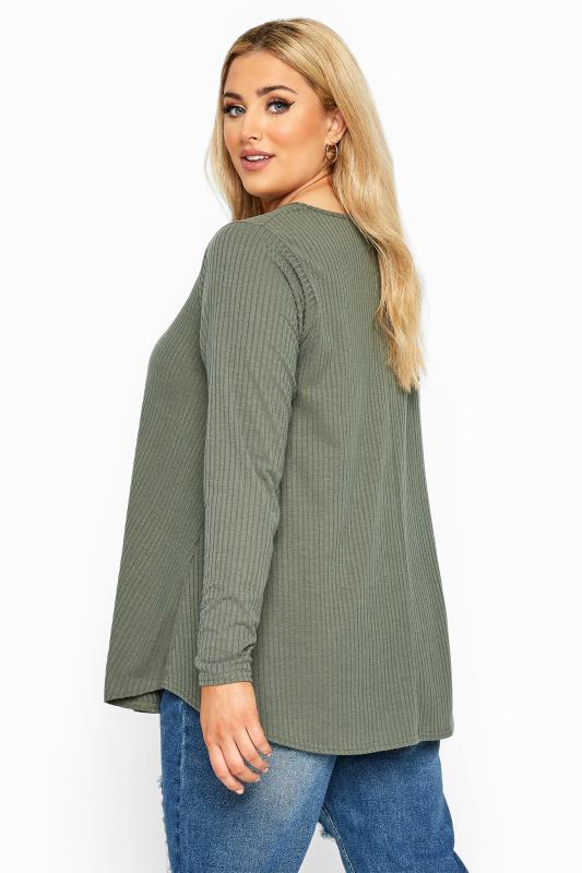 LIMITED COLLECTION Khaki Ribbed Long Sleeve Top