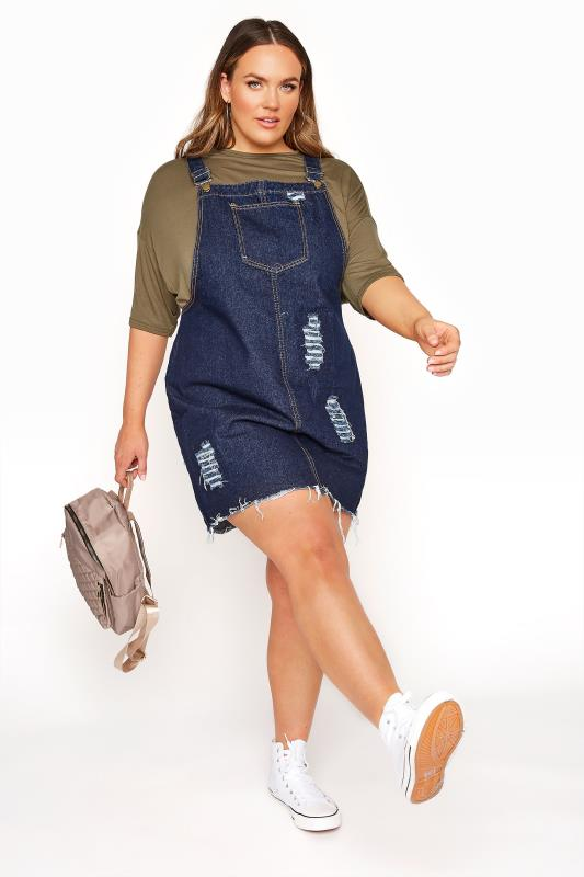 LIMITED COLLECTION Dark Blue Distressed Pinafore Dress_B.jpg