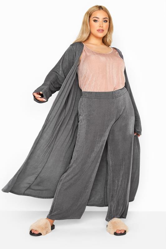Plus Size  YOURS LONDON Charcoal Grey Slinky Co-ord Wide Leg Trousers