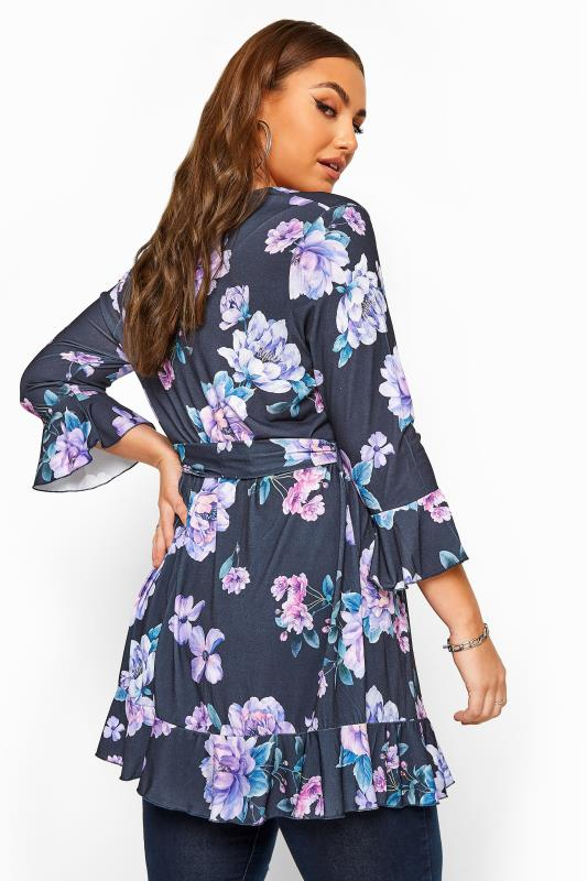 YOURS LONDON Navy Floral Frill Belted Top_C.jpg