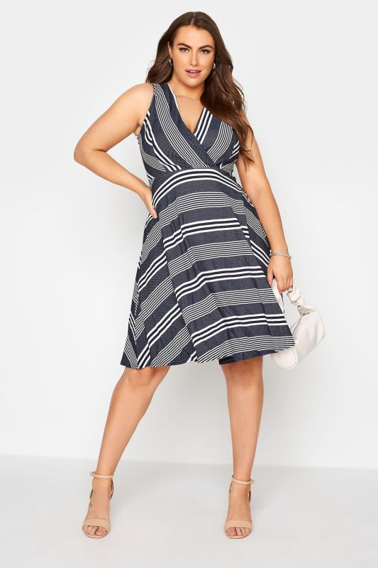 Navy Stripe Wrap Skater Dress_B.jpg