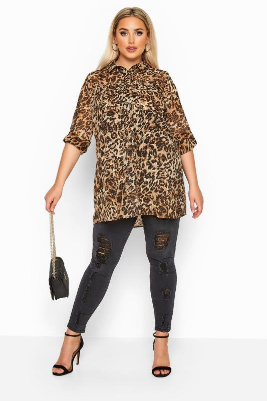 LIMITED COLLECTION Brown Leopard Print Dobby Eyelet Shirt