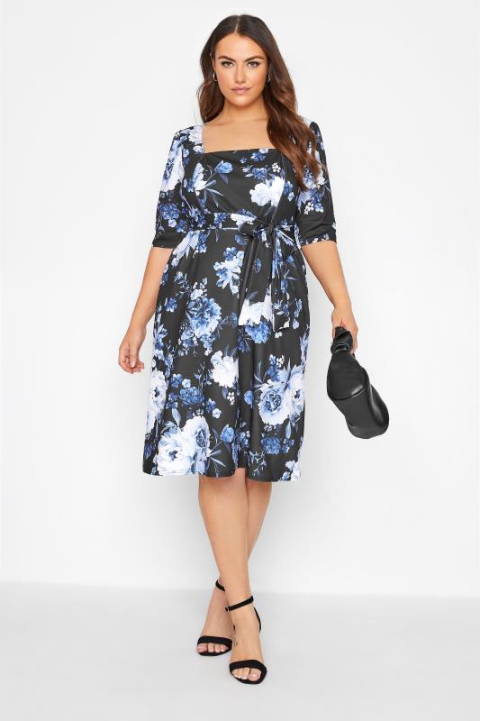 Plus Size  YOURS LONDON Black Floral Milkmaid Dress