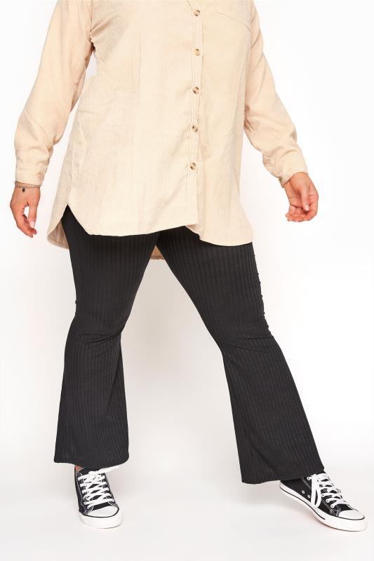 Black Ribbed Flare Leggings