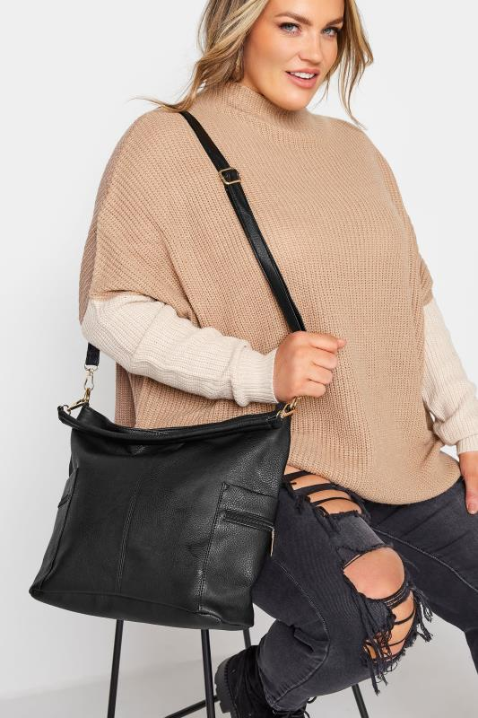 Black Dual Zip Shoulder Bag
