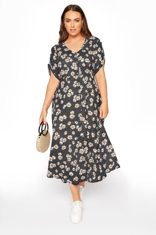 Plus Size  LIMITED COLLECTION Black Daisy Ruched Maxi Dress