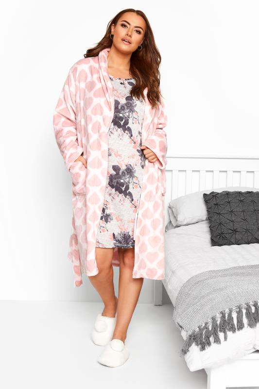 Pink Heart Print Shawl Dressing Gown