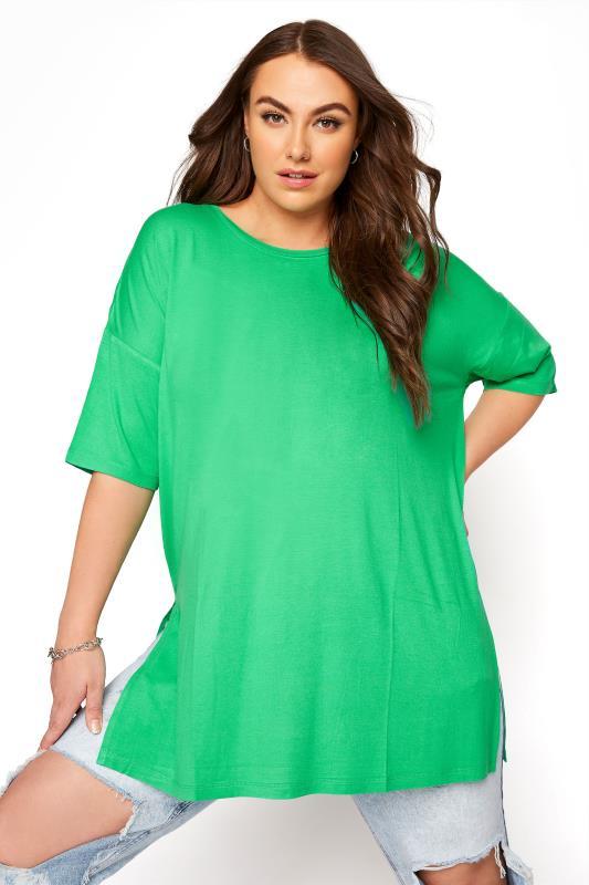 Großen Größen  Emerald Green Oversized T-Shirt