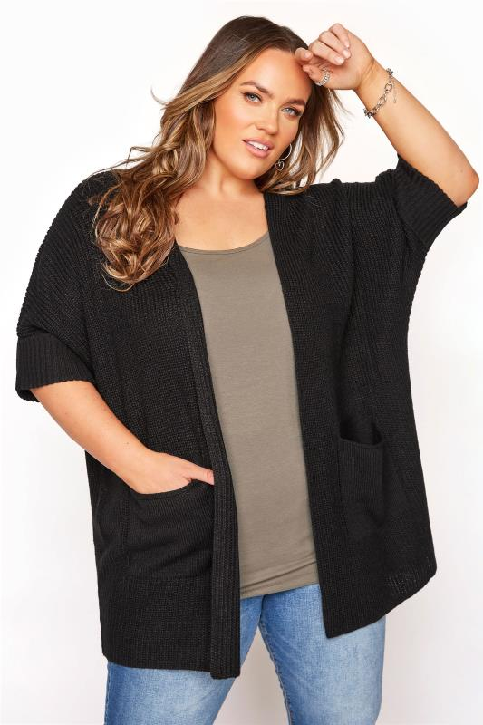 Plus Size  Black Turn Up Sleeve Cardigan