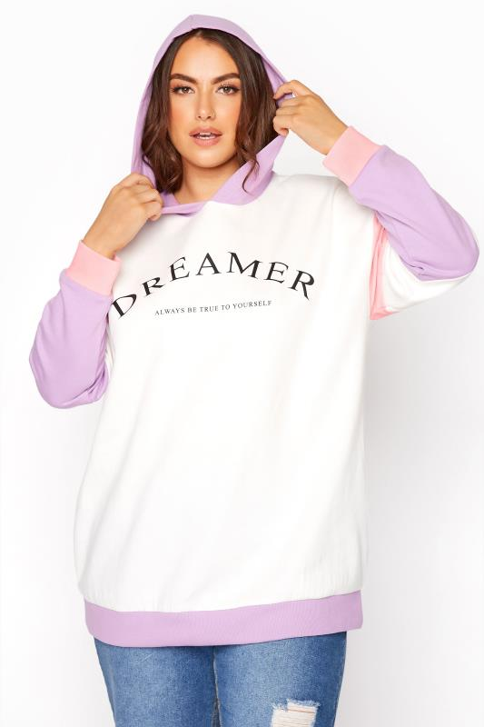 Plus Size  White Colour Block 'Dreamer' Hoodie