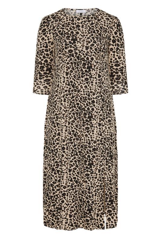 YOURS LONDON Beige Leopard Midaxi Split Dress_F.jpg