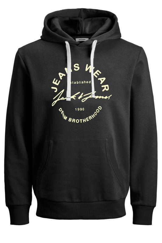 Plus Size  JACK & JONES Black Hero Logo Print Hoodie