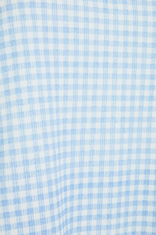 LIMITED COLLECTION Blue Gingham Ribbed Frill Pyjama Top_s.jpg