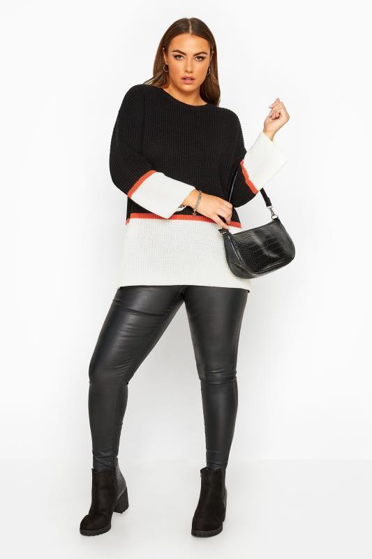 Trui met kleurvlakken in zwart wit   Yours Clothing