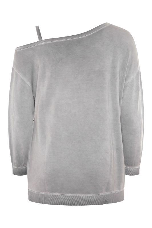 Grey Washed Asymmetric Cold Shoulder Sweatshirt_BK.jpg