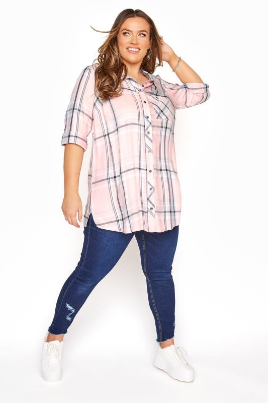 Pink Check Boyfriend Shirt