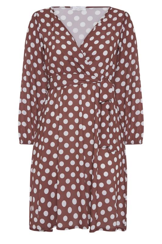 YOURS LONDON Brown Polka Dot Wrap Midi Dress_F.jpg