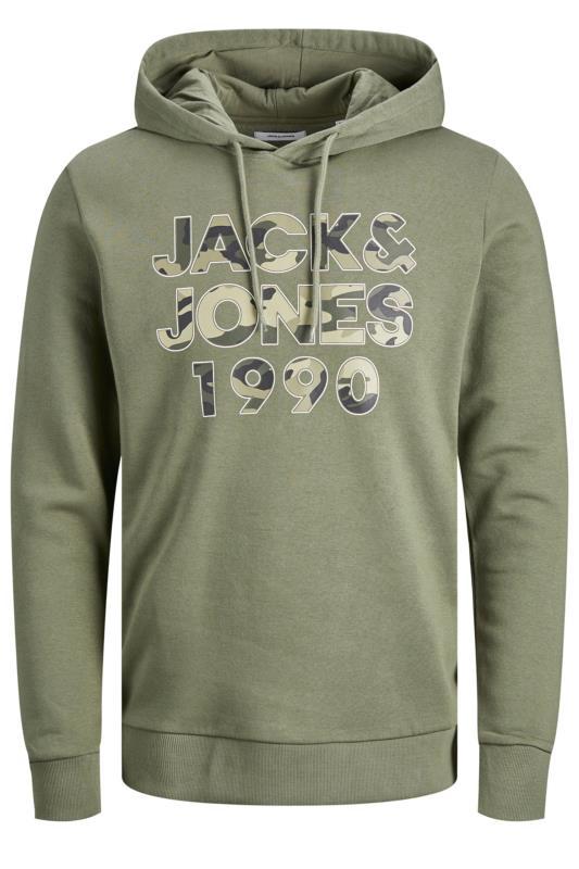 JACK & JONES Green Camo Graphic Print Hoodie