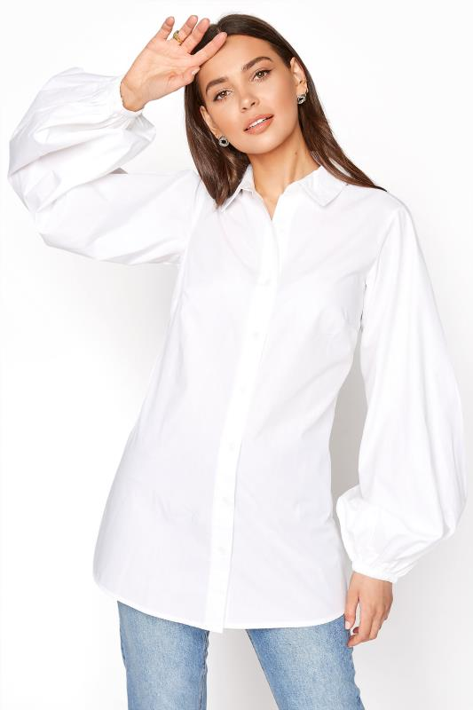 Tall  LTS White Balloon Sleeve Cotton Shirt