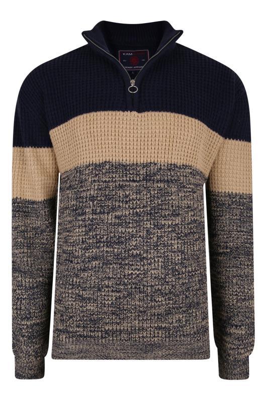 Men's  KAM Stone Grey Stripe Quarter Zip Knitted Jumper